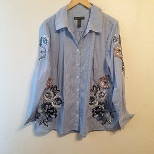 I.N.C SZ 1X EMBROIDERED STRIPE BUTTON FRONT SHIRT